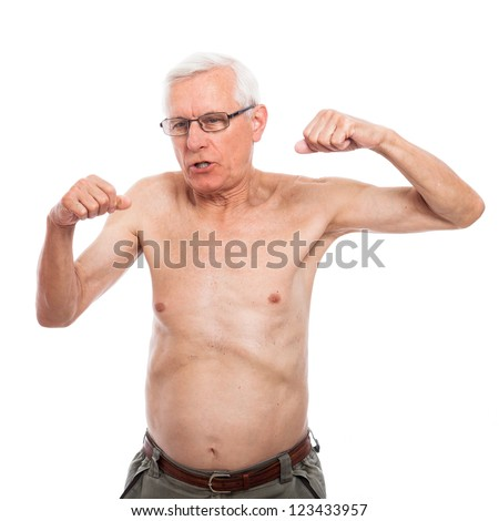 Shirtless senior man gesturing and showing body, isolated on white background. - stock photo