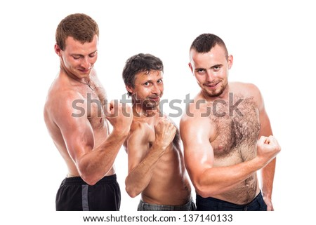 Shirtless sportsmen showing biceps, isolated on white background - stock photo