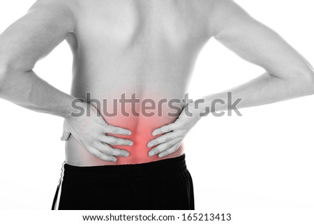 Shirtless Young Man Holding His Back Over White Background - stock photo