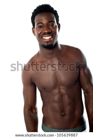 Shirtless young man posing in underwear. Studio shot - stock photo
