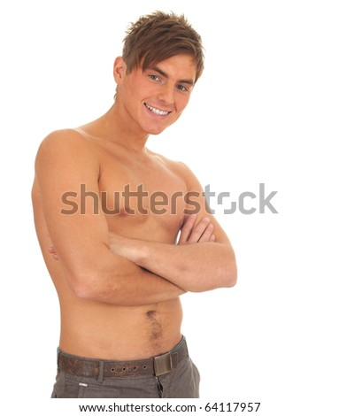 shirtless young man standing with crossed arms - stock photo