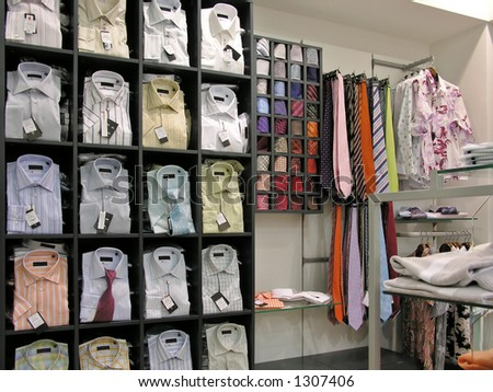 Shirts in store - stock photo