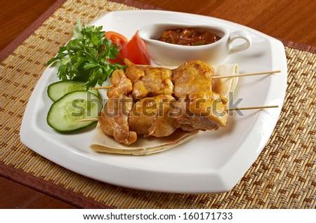 shish-kebab -chicken making roasted with vegetable closeup - stock photo