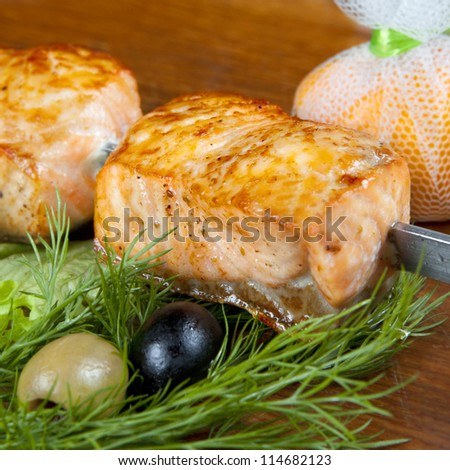Shish kebab from a salmon with black and green olives and lemon-square - stock photo