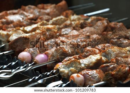 Shish kebab in summer day - stock photo