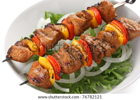 shish kebab on skewers - stock photo