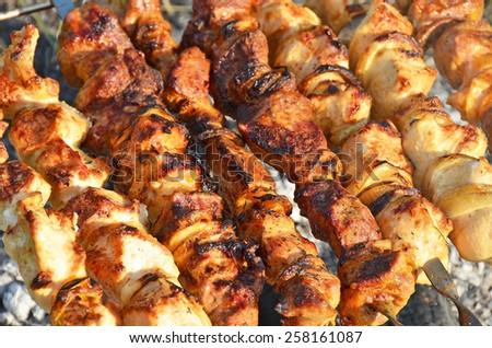 Shish kebab on skewers and hot coals - stock photo