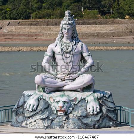 Shiva statue in Rishikesh, India - stock photo