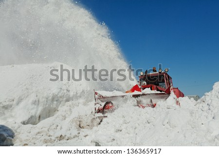 shnekorotor removes snow - stock photo