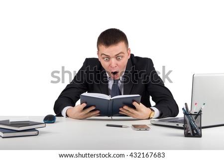 Shocked businessman in panic  isolated on white background - stock photo