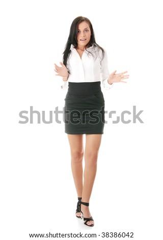 Shocked businesswoman isolated on white background - stock photo