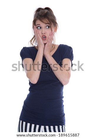 Shocked isolated young woman in panic looking sideways. - stock photo