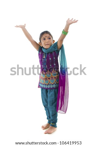 shocked little traditional indian girl - stock photo
