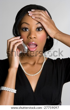 Shocked Phone Woman - stock photo