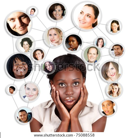 Shocked screaming young African American business woman with her social network friends and business partners in a diagram - stock photo