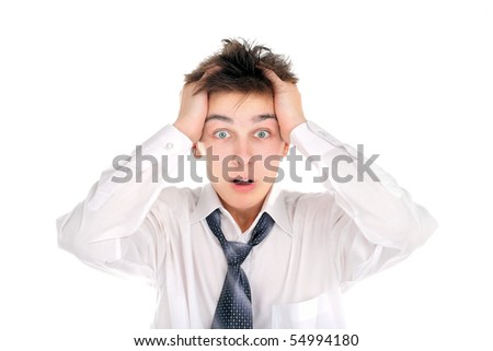 shocked teenager isolated on the white - stock photo
