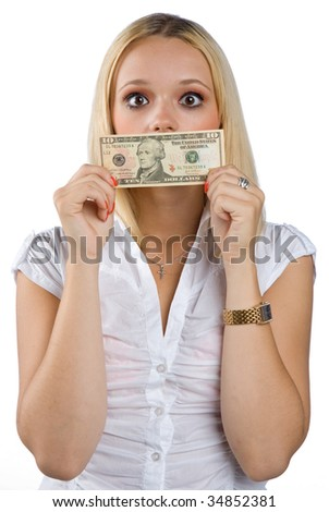 shocked woman silenced with dollar bill on her mouth - stock photo