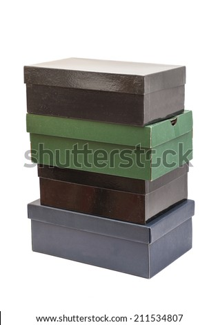 shoe boxes isolated on white - stock photo