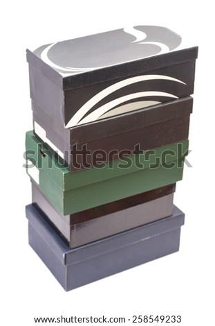 shoe boxes isolated on white - stock photo