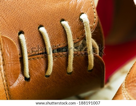 Shoe lace close up image. - stock photo