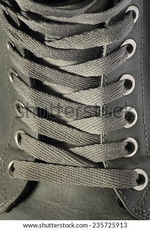 Shoe lace close up look - stock photo
