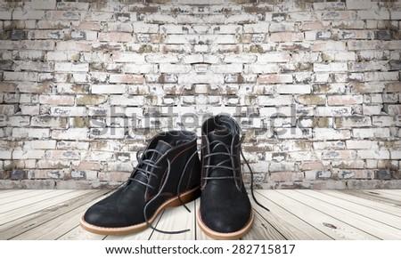 Shoe, Men, White. - stock photo