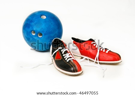 shoes and bowling ball - stock photo
