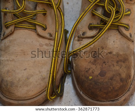 shoes, dirty shoes and laces - stock photo