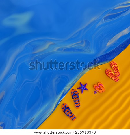 Shoes flip-flops of wife, husband and daughter on the beach with starfish - stock photo