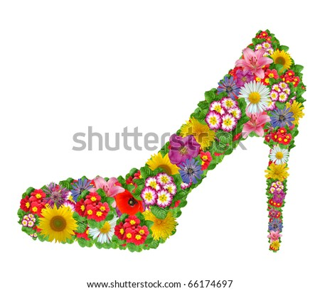 Shoes from the flowers - stock photo