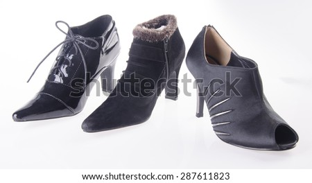 shoes, ladies shoes on the background. - stock photo