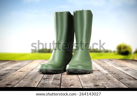 shoes on floor and spring time  - stock photo