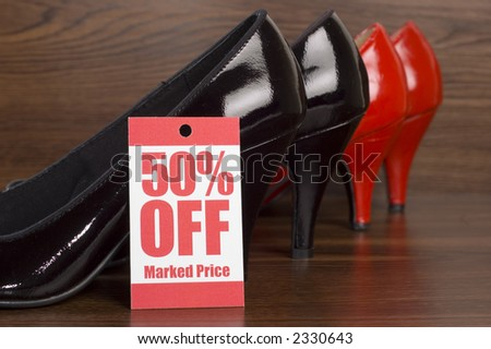 shoes on sale in shop - stock photo