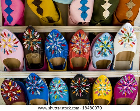 Shoes on the market place in Marrakesh, Morocco. - stock photo