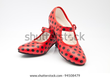 shoes Seville red with polka dots - stock photo