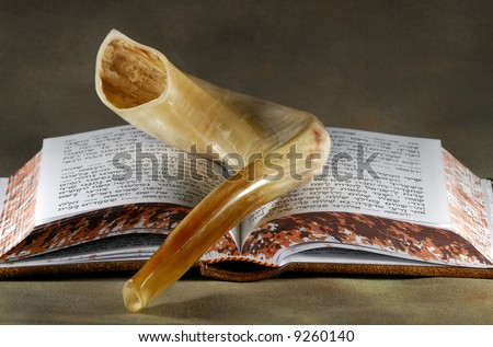 Shofar and a Bible - Jewish Related Objects - stock photo