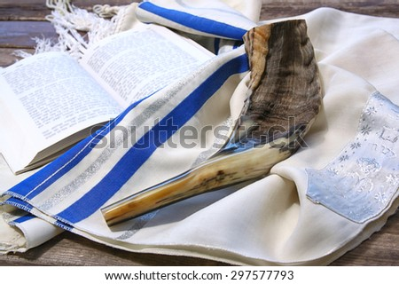 shofar (horn) on white prayer talit. room for text. rosh hashanah (jewish holiday) concept . traditional holiday symbol.  - stock photo