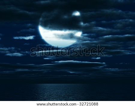 Shone circle of the moon in darkness on a background of the sea sky and clouds - stock photo