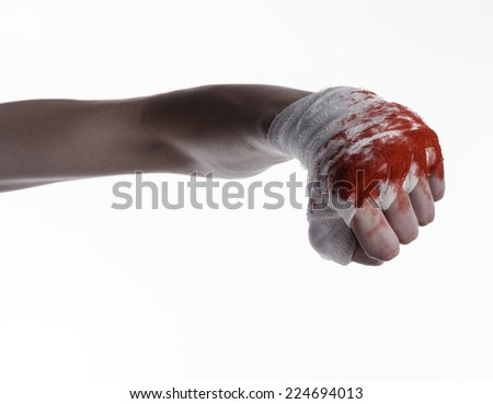 shook his bloody hand in a bandage, bloody bandage, fight club, street fight, violence, bloody theme, white background, isolated, bloody fists, boxer, tied his hands with a bandage - stock photo