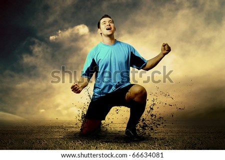 Shoot of football player on the outdoor field - stock photo