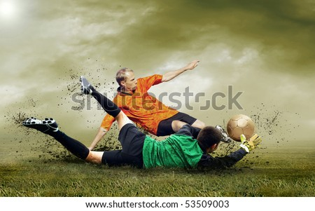 Shoot of football player on the outdoors field - stock photo