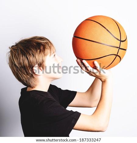 shooting at basket - stock photo