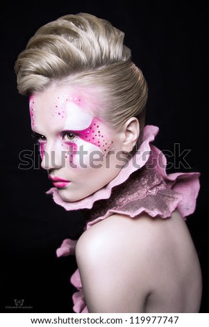 Shooting Beauty blonde in a pink make-up - stock photo