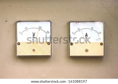 Shooting close view of analog electric meter dial - stock photo