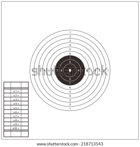Shooting Range Target white Template. illustration - stock photo