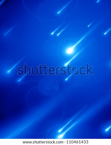 Shooting stars on a soft blue background with multiple objects - stock photo