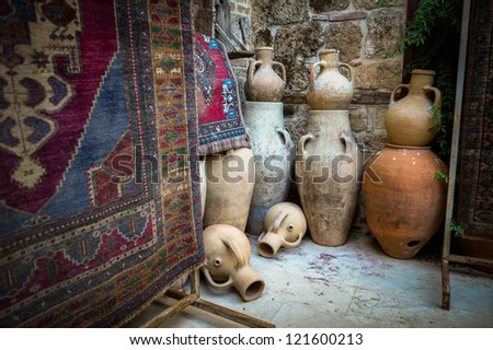 Shop antique rugs and dishes in Turkey. Antalya - stock photo