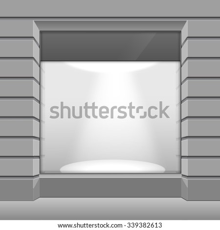 Shop Boutique Store Front with Big Window and Place for Name - stock photo