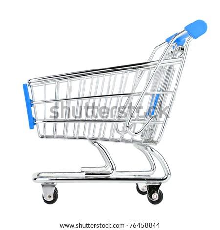 shop cart on isolated white background. - stock photo
