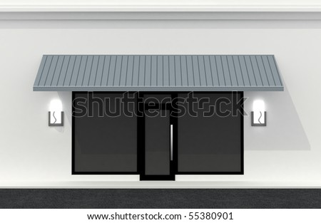 Shop front wall. Building exterior shopwindow empty for your product presentation, paste your shop, boutique, commercial. - stock photo